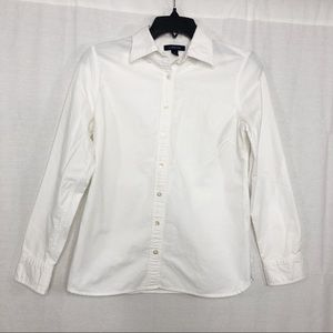 Lands End Button Down Top, Size 2, White
